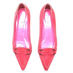Pink Suede J. Crew Pointy Toe Loafers